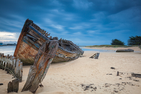 Shipwreck cemetery at the river Etel in Brittany