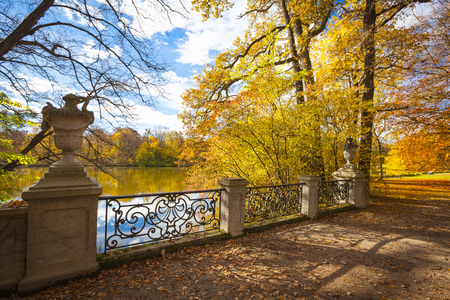 nymphenburg palace: Autumn in the park of Nymphenburg Palace in Munich