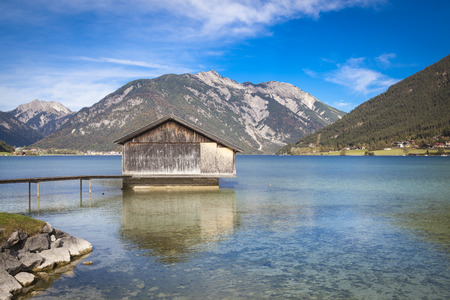 boathouse: Boathouse at lake Achensee in Austria Stock Photo