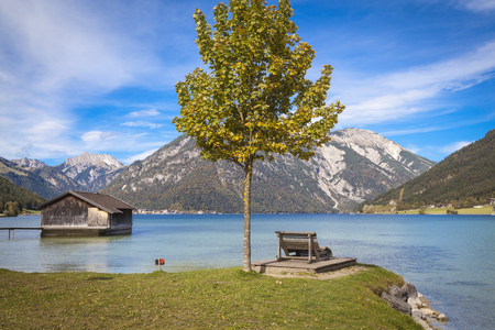 boathouse: Boathouse at lake Achensee in Austria Stock Photo