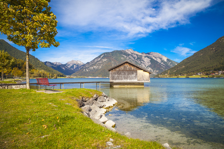Lake Achensee and Pertisau village in autumn, Austrian Alps ...