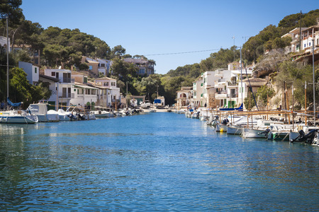 holiday house: Boats in the harbour of Cala Figueira, Mallorca Stock Photo