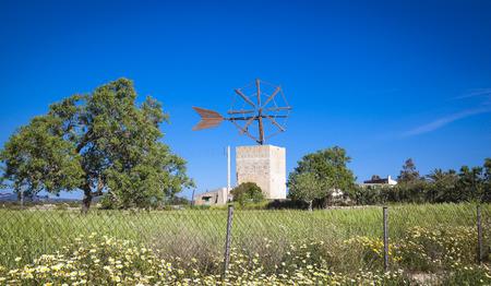 traditional windmill: Traditional windmill of Mallorca Stock Photo