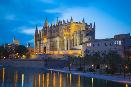 palma: Cathedral San Seu in  Palma de Mallorca by night