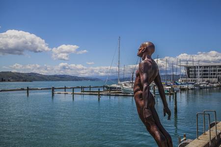 wellington: Wellington skyline with sculpture Stock Photo