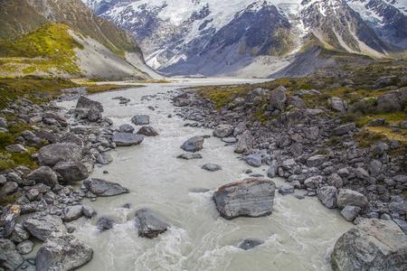 tasman: Tasman River im Mount Cook National Park Neuseeland