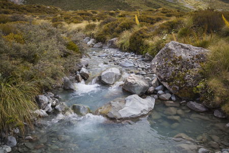 aoraki mount cook national park: Tasman River im Mount Cook National Park Neuseeland