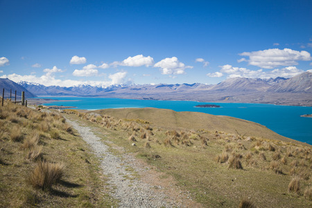 st john: View from mount St. John to Lake Tekapo Stock Photo