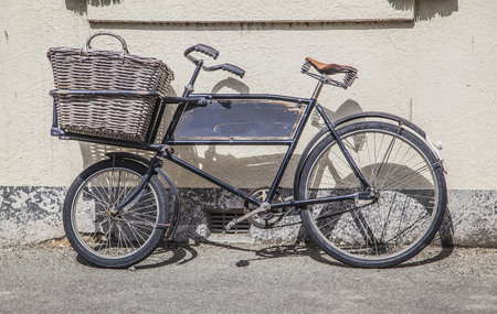 oamaru: Old bycicle in Oamaru New Zealand town views Stock Photo