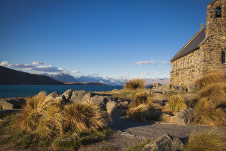 tekapo: Chapel of the good shepherd Lake Tekapo Stock Photo