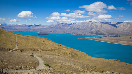 tekapo: View from mount St. John to Lake Tekapo Stock Photo