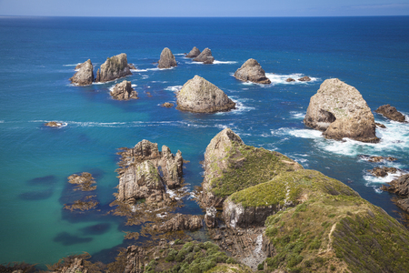 nugget: Nugget Point Catlins New Zealand Stock Photo