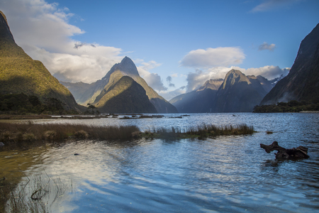 mitre: Mitre Peak in Milford Sound New Zealand Stock Photo