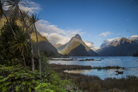 milford: Mitre Peak in Milford Sound New Zealand Stock Photo