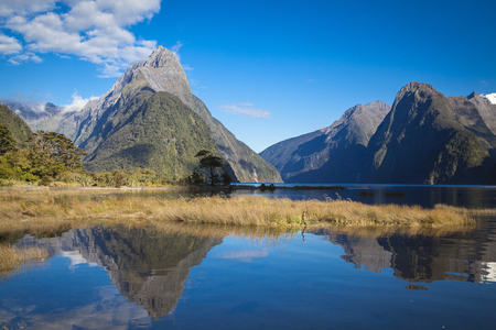 Mitre Peak in Milford Sound New Zealand Stock Photo