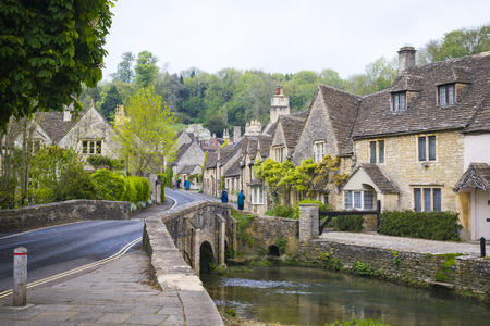 Quaint town of Castle Combe in the Cotswolds of England Stock Photo