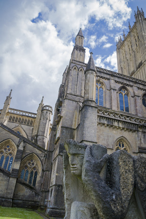 wells: Gargoyle at Wells Cathedral in Somerset England