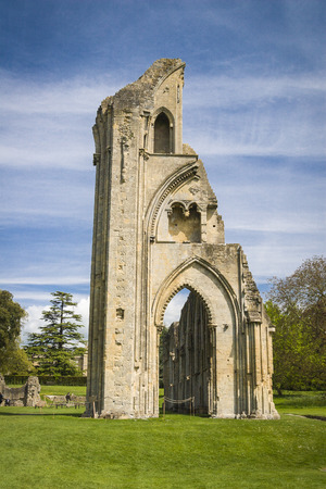 abbey ruins abbey: The historic ruins of Glastonbury Abbey in Somerset