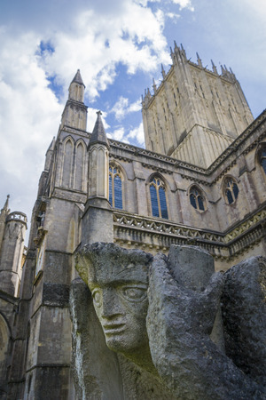 somerset: Gargoyle at Wells Cathedral in Somerset England