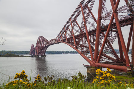 Forth Rail Bridge and Firth of Forth near Edinburgh, Scotland