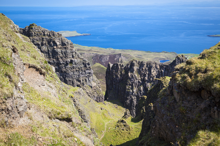 Quiraing mountain landscape, Isle of Skye, Scotland Stock Photo