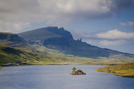 The old man of Storr and Trotternish from a distance, Isle of Skye, Scotland