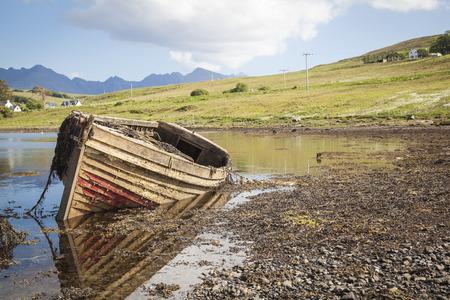 skye: Drynoch, Scotland,  Old shipwreck at the coastline on the Isle of Skye in Scotland.