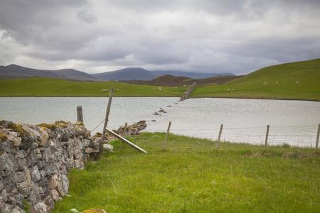 the sunken: Sunken dry wall near Durness, Lairg, Scotland
