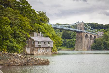 Menai suspension bridge, Northwest Wales Stock Photo