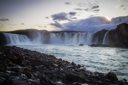 Godafoss, the Waterfall of the Gods, a major tourist attraction in Iceland