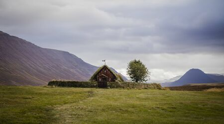Old historic turf church of Groef, Iceland Standard-Bild