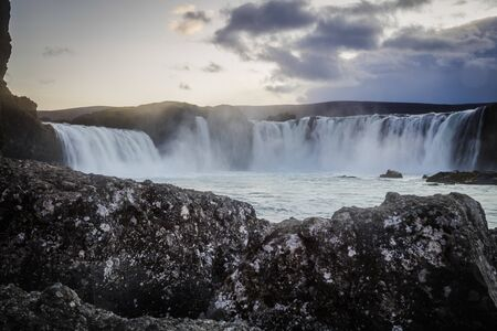 Godafoss, the Waterfall of the Gods, a major tourist attraction in Iceland Standard-Bild - 145438519