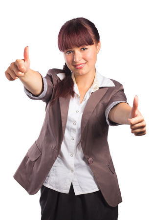 businesswoman suit: Happy smiling business woman with thumbs up gesture, isolated on white background