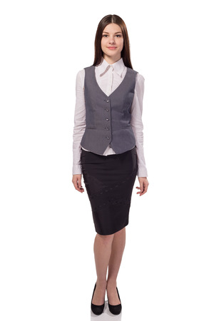 Young pretty businesswoman isolated on white background. Full height portrait Stock Photo
