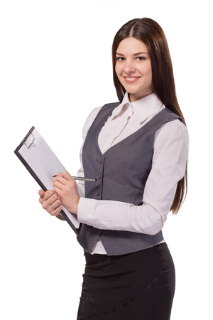 Smiling woman, female accountant or HR manager with clipboard isolated on white background Stock Photo