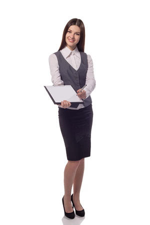 Smiling woman with clipboard offer to sign document isolated on white Stock Photo