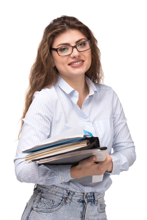 Young smiling business woman or accountant or teacher with clipboard isolated