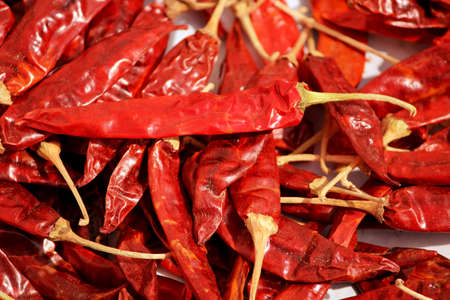 crushed red peppers: Group of many dried red spicy natural chilly collections