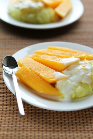 Thai Dessert Sweet herb Sticky Rice With mango.