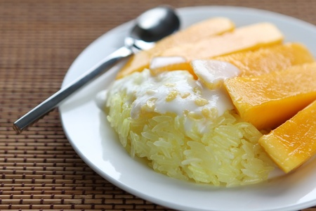 Thai Dessert Sweet herb Sticky Rice With mango. photo