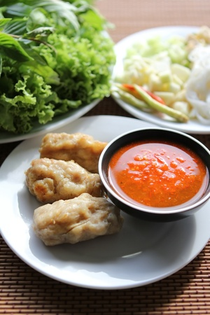 vietnamese fusion food with herb and vegetable