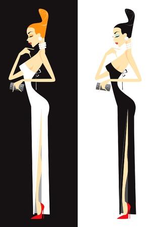 Woman in dress Stock Illustratie