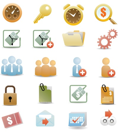 Stylized web icons with All icons organized in layers for usability. Illustration
