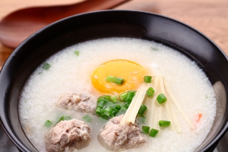 Traditional chinese porridge rice gruel in bowl