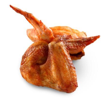 alitas de pollo: pollo a la parrilla, Aislado En Blanco.