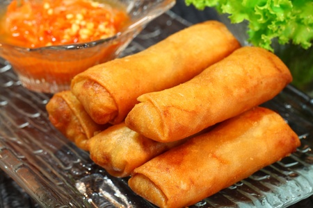 Spring rolls on clear dish Stock Photo