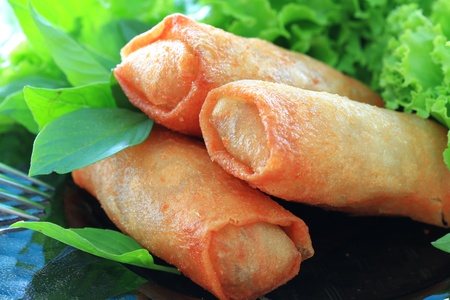 fried snack: Spring rolls Stock Photo