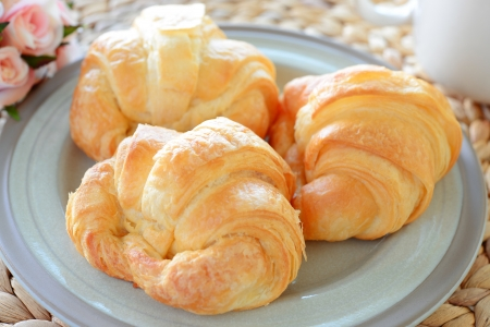 continental breakfast with fresh croissant, coffee Stock Photo