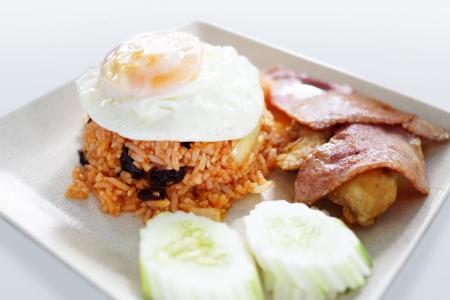 fired egg: fried rice, fired egg and fired pork