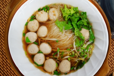 Bowl of Thai Noodle with meatball and vegetable